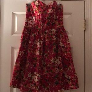 Flower sweetheart neck strapless dress